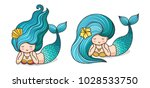 Cute Lying Dreamy Mermaids Wit...