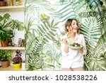 portrait of a young woman with... | Shutterstock . vector #1028538226