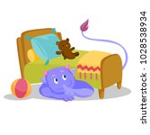 cute purple monster with tail... | Shutterstock .eps vector #1028538934