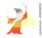 old caucasian white magician in ... | Shutterstock .eps vector #1028538943