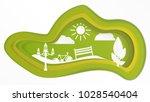 green paper city. | Shutterstock .eps vector #1028540404