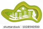 green paper city.  | Shutterstock .eps vector #1028540500