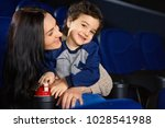 cheerful mature woman hugging... | Shutterstock . vector #1028541988