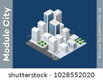 winter isometric city with... | Shutterstock .eps vector #1028552020