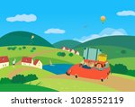 travel by car concept. young... | Shutterstock .eps vector #1028552119