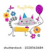 cartoon cat smiling  walk in... | Shutterstock .eps vector #1028563684