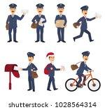 postman vector mailman delivers ... | Shutterstock .eps vector #1028564314