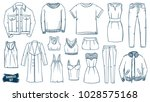 clothes doodles set. fashion... | Shutterstock .eps vector #1028575168