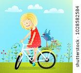 summertime girl bird and... | Shutterstock .eps vector #1028582584