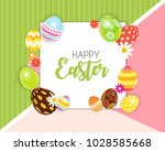 happy easter cute background...   Shutterstock .eps vector #1028585668