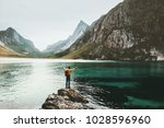 traveler man raised hands... | Shutterstock . vector #1028596960