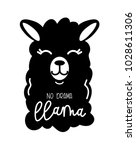 no drama llama cute card with... | Shutterstock .eps vector #1028611306