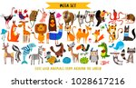 mega set of cute cartoon... | Shutterstock .eps vector #1028617216