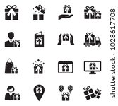 gift and surprise icons. black... | Shutterstock .eps vector #1028617708