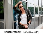 modern stylish woman in city | Shutterstock . vector #102862634