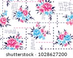 Stock vector roses pattern with decorative background 1028627200