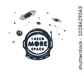 hand drawn space badge with... | Shutterstock .eps vector #1028629063