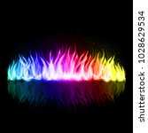 wall of abstract rainbow fire... | Shutterstock .eps vector #1028629534