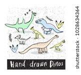 set of hand drawn prehistoric... | Shutterstock .eps vector #1028634364