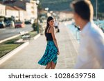 young attractive woman flirting ... | Shutterstock . vector #1028639758