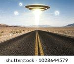 3d illustration of a ufo flying ... | Shutterstock . vector #1028644579