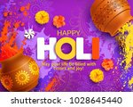 happy holi background with... | Shutterstock .eps vector #1028645440