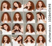 Small photo of Set of young girl emotions. Casual redhead woman grimacing and gesturing on camera at gray studio background. Happiness, fear, surprise. Positive and negative feelings