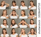 Small photo of Different emotions collage. Set of beautiful blonde girl emotional portraits. Positive and negative female feelings. Young woman grimacing on camera at gray studio background