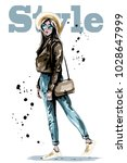 stylish beautiful young woman... | Shutterstock .eps vector #1028647999