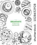 breakfasts top view frame....   Shutterstock .eps vector #1028652928