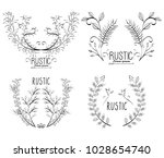 rustic set wreaths icons | Shutterstock .eps vector #1028654740