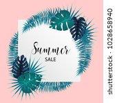 summer sale poster. tropical... | Shutterstock .eps vector #1028658940