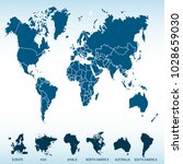 world map. europe asia america... | Shutterstock .eps vector #1028659030