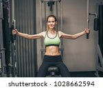 young girl makes exercises at... | Shutterstock . vector #1028662594