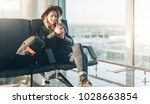 young woman tourist in hat ... | Shutterstock . vector #1028663854