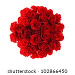 Stock photo beautiful red roses bouquet isolated on white 102866450