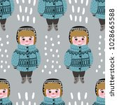 seamless pattern with cute... | Shutterstock .eps vector #1028665588