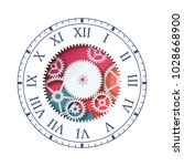paper cut clock. colorful clock ... | Shutterstock .eps vector #1028668900