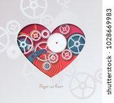 paper cut heart. colorful heart ... | Shutterstock .eps vector #1028669983