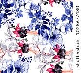 watercolor hand drawn seamless... | Shutterstock . vector #1028677480