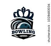 bowling queen logo vector   Shutterstock .eps vector #1028683036
