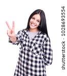 beautiful young woman signaling ...   Shutterstock . vector #1028693554