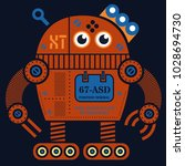 rolling robot 2 illustration....   Shutterstock .eps vector #1028694730