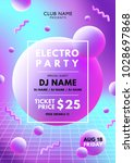 electro party pink   blue flyer | Shutterstock .eps vector #1028697868