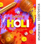 happy holi background with... | Shutterstock .eps vector #1028704516