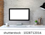 mockup of creative desktop of... | Shutterstock . vector #1028712016