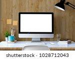 mockup desktop computer with... | Shutterstock . vector #1028712043