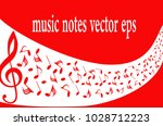 red musical symbols with... | Shutterstock .eps vector #1028712223