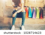 shopping mall. happy woman... | Shutterstock . vector #1028714623