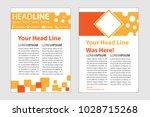 magazine cover in orange... | Shutterstock .eps vector #1028715268